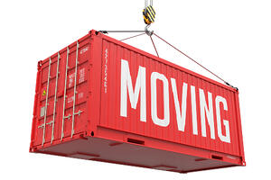 Moving - Red Cargo Container Isolated on White Background.