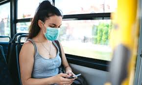 face mask on bus