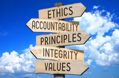 wooden-signpost-code-ethics-concept-260nw-537942472